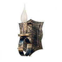 """Светильник из дерева на 1 рожок-свечу серии """"Новый стиль"""" серого черного цвета с золотистой патиной в стиле """""""