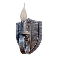 """Светильник из дерева на 1 рожок-свечу серии """"Новый стиль"""" серого цвета с белой патиной в стиле """"Замковый лофт"""
