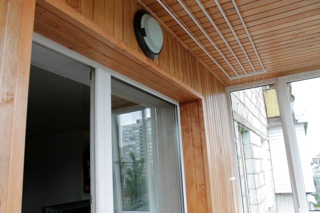 отделка балкона под ключ (деревянная вагонка ольха)