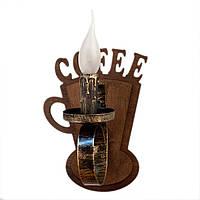 """Светильник из дерева на 1 рожок-свечу серии """"Новый стиль"""" натурального цвета под дерево в стиле """"Замковый лофт"""