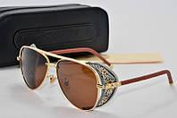 Солнцезащитные очки Chrome Hearts Monster коричневые в золоте