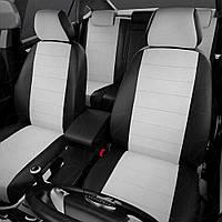 Универсальные чехлы Автолидер Боковины: чёрные. Середина: белая экокожа с перфорацией