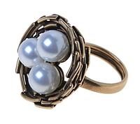 """Кольцо """"Гнездо"""" с жемчугом, покрытое бронзой (r344w0kw)"""