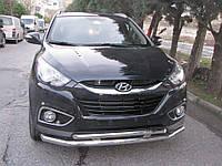 Защита переднего бампера Hyundai IX35 2010-2015 (двойной ус) d 60/42