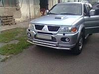 Защита переднего бампера (двойной ус) Mitsubishi Pajero Sport 1998-2009