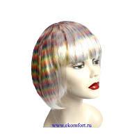 Парик каре платиновый  с разноцветным колорированием Радуга мелкая 35 см