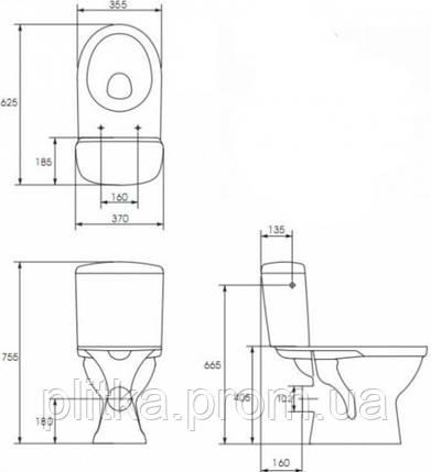 Унитаз CERSANIT MERIDA MR010 с сиденьем полипропилен микролифт , фото 2