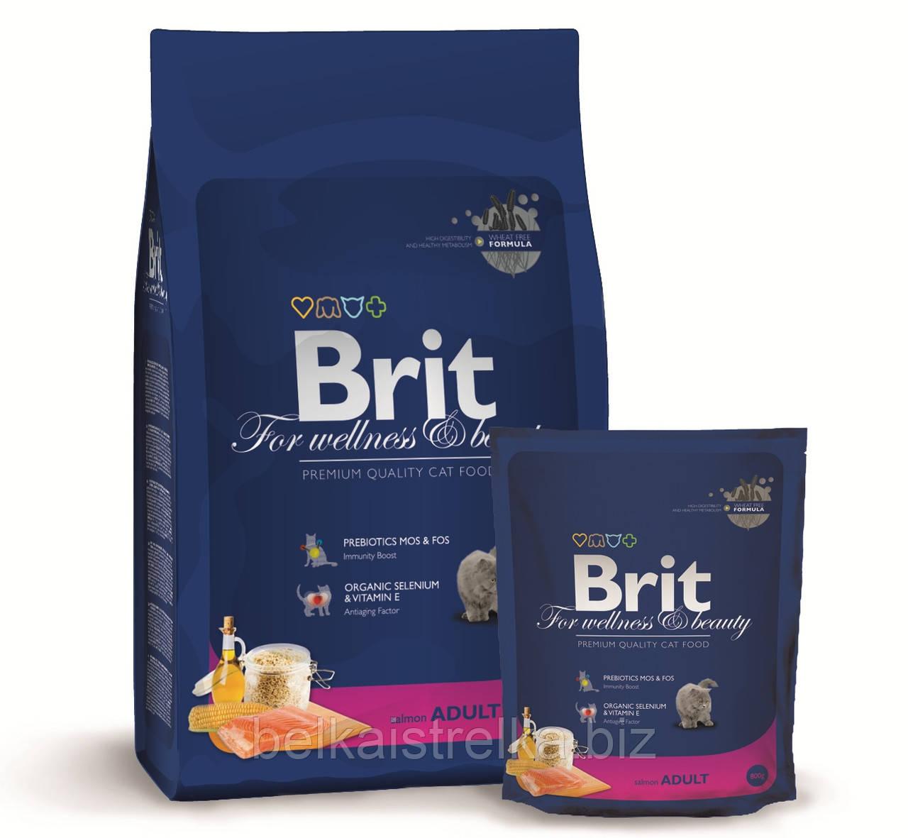 Корм Brit Premium Cat Adult Salmon для взрослых кошек с лососем 170361, 1,5 кг