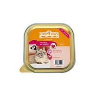 Паштет для кошек Клуб 4 лапы с мясом индейки и телятиной, 100 г
