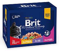Консервы для кошек Brit Premium Cat pouch семейная тарелка ассорти 4 вкуса, 1200 г