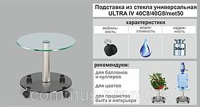 Подставка для цветов Ø400 мм напольная стекло на колесиках COMMUS ULTRA