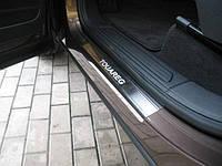 """Накладки на пороги Volkswagen Touareg 2010-2015 """"Premium"""" на метал"""