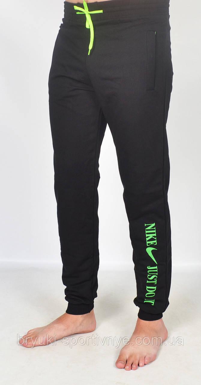 Штаны спортивные трикотажные под манжет - юниор 46 размер зеленый принт