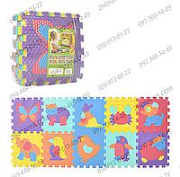 """Коврик мозаика M 3517 EVA""""Животные"""", 10 деталей, 6 текстур, массажный коврик для малышей"""
