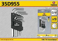 Набор ключей шестигранных коротких 9шт,  TOPEX  35D955