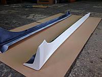 Пороги аэродинамические Mitsubishi Lancer X 2007-2010 (оригинальный дизайн) ABS пластик в белом цвете