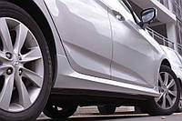 Внешние пороги Hyndai Accent 2011- / Kia Rio 2011- глянец ABS пластик