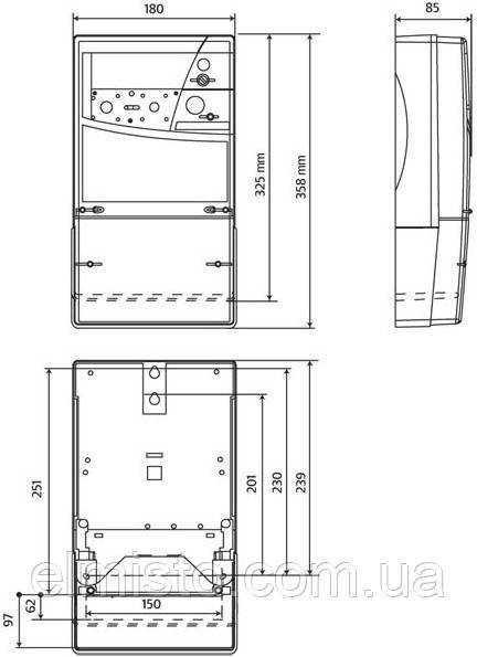 Габаритный чертеж электросчетчика Actaris SL 7000 Smart