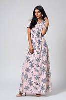 Нарядное длинное женское платье пудрового цвета
