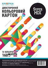 Папір кольоровий Knopka, SuperMix, A4, 160 г/м², 100 аркушів, 10 кольорів