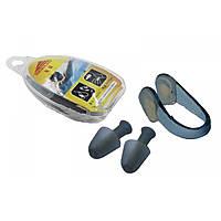 Беруши для ушей+зажим для носа в пластик. футляре HN-2 (силикон, пластик) ZRHN-2.