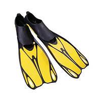 Ласты с закрытой пяткой (калоша цельная) ZEL ZP-436 (р-р M(38-39) - XL(44-45), желтый, синий, серый)