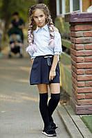 Подростковая стильная юбка-шорты 288 / темно-синяя, фото 1