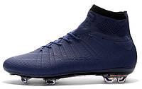 Футбольные бутсы Nike Mercurial Superfly FG Navy Blue/Black (Найк) с носком синие