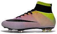 Футбольные бутсы Nike Mercurial Superfly Radiant Reveal FG White Orange Black (Найк) с носком белые