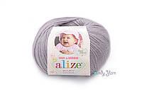 Турецкая пряжа Alize Baby Wool полушерсть талая вода №52