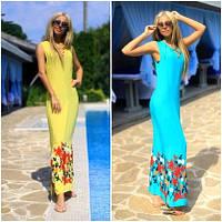 Летнее длинное платье с вышивкой №199 (