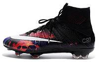 Футбольные бутсы Nike Mercurial Superfly CR7 FG Black (Найк Криштиану Роналду) с носком черные