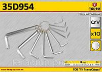 Набор ключей шестигранных 10шт,  TOPEX  35D954