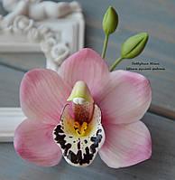Орхидея розовая (заколка-зажим)
