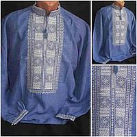 """Мужская рубаха """"Квадраты на джинсе"""" с вышивкой, габардин, 40-60 р-ры, 470/420 (цена за 1 шт. + 50 гр.)"""