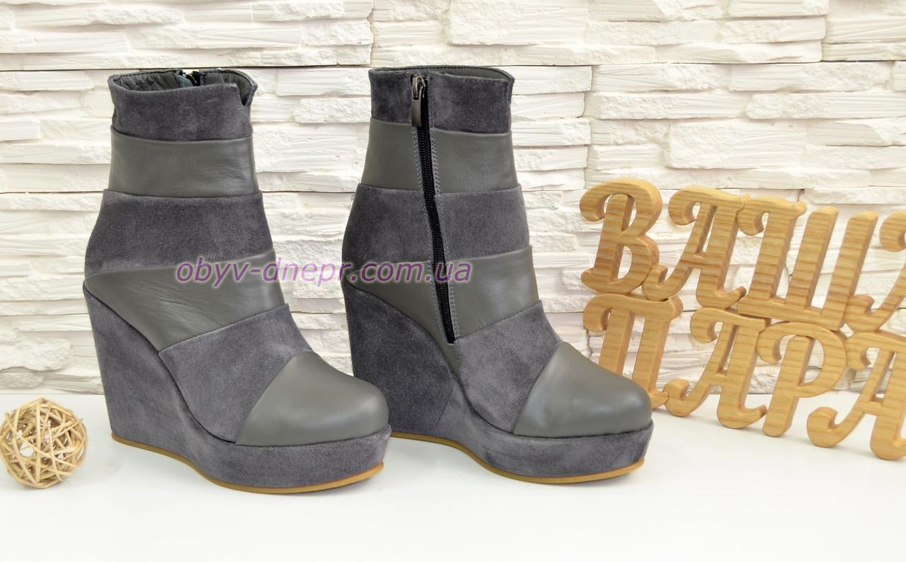 108e541e2 Женские демисезонные ботинки на высокой платформе, натуральная замша и кожа  серого цвета, ...