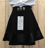 Юбка  с кожаными вставками на девочку черная на  рост 122 см, 128 см, 134 см, 140 см, 146 см