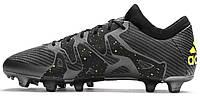 Футбольные бутсы Adidas X 15.1 FG/AG Core Black/Solar Yellow/Night Metallic (Адидас) черные