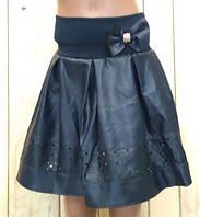 Юбка  кожаная на девочку темно синяя на  рост 116 см, 122 см, 128 см