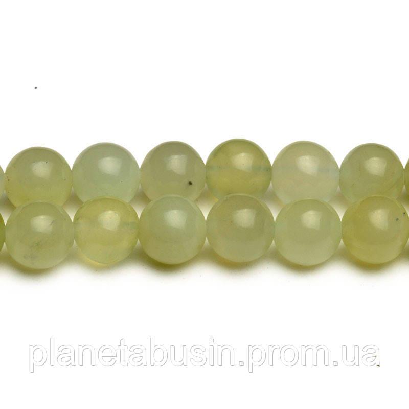 8 мм Светлый Нефрит, CN283, Натуральный камень, Форма: Шар, Отверстие: 1мм, кол-во: 47-48 шт/нить