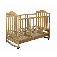 Кроватка Laska-M Наполеон с ящиком (нат. ольха)