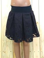 Юбка  гипюровая на девочку темно синяя на  рост 116 см, 122 см, 128 см, 134 см