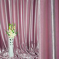 Блэкаут (светонепроницаемые шторы) полосы розовый серебристый