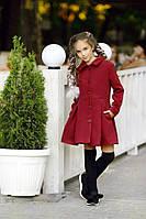 Подростковое стильное кашемировое пальто для девочек 295 / марсала