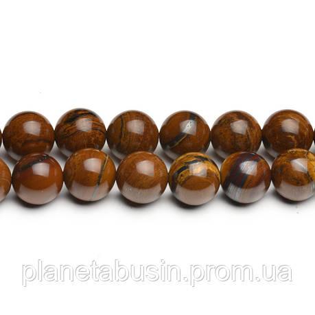 8 мм Тигровая Яшма, CN284, Натуральный камень, Форма: Шар, Отверстие: 1мм, кол-во: 47-48 шт/нить, фото 2