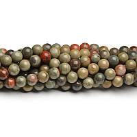 Серебряная яшма, Натуральный камень, На нитях, бусины 8 мм, Шар, 48 шт/нить