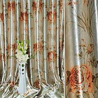Блэкаут (светонепроницаемые шторы) светлая серый с зол. рыж розами и букет.цвет ш.275