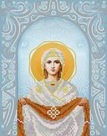 """Схема для вышивки бисером на атласе икона """"Покрова Пресвятой Богородицы"""" (серебро)"""
