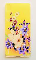 Чехол на Huawei Ascend P7 Силикон 0.5 мм со Стразами Цветы, фото 1