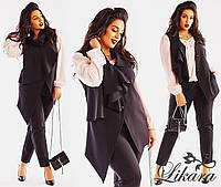 Модный женский костюм-тройка, однотонная блуза, брюки с карманами по бокам и жилет на пуговицах.